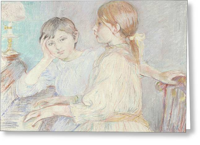 Morisot Canvas Greeting Cards - The Piano Greeting Card by Berthe Morisot