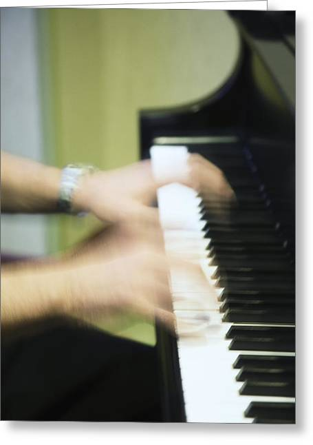 Ghost Like Greeting Cards - The Piano Ghost Greeting Card by Carolyn Fox