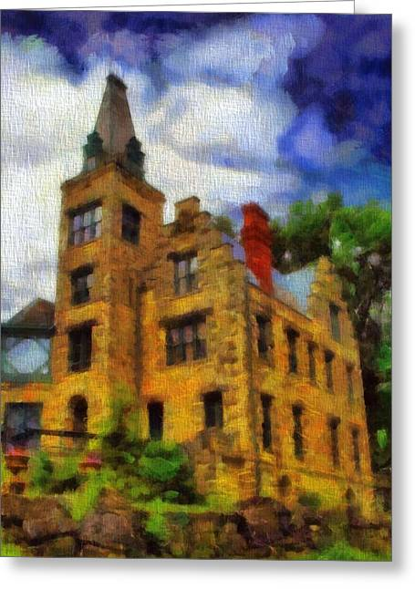 Soft Light Mixed Media Greeting Cards - The Piatt Castle Greeting Card by Dan Sproul
