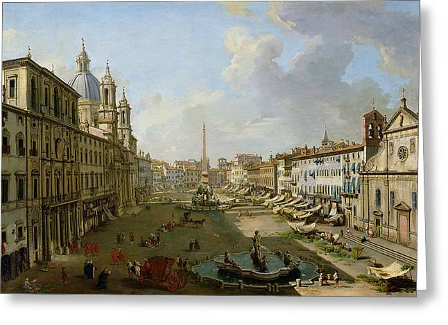 Awning Photographs Greeting Cards - The Piazza Navona In Rome Oil On Canvas Greeting Card by Giovanni Paolo Pannini or Panini