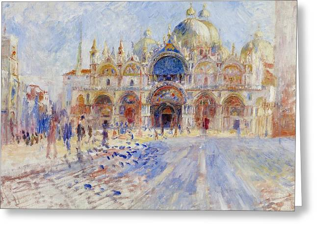 Pierre Auguste Greeting Cards - The Piazza San Marco Greeting Card by Pierre Auguste Renoir
