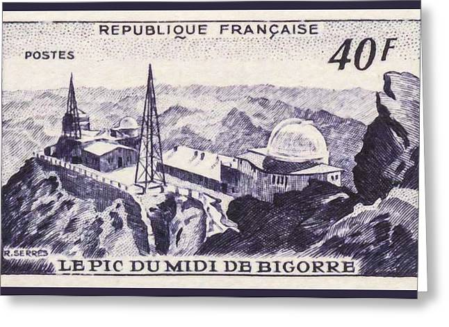 Midi Greeting Cards - The Pic Du Midi De Bigorre Stamp Greeting Card by Lanjee Chee