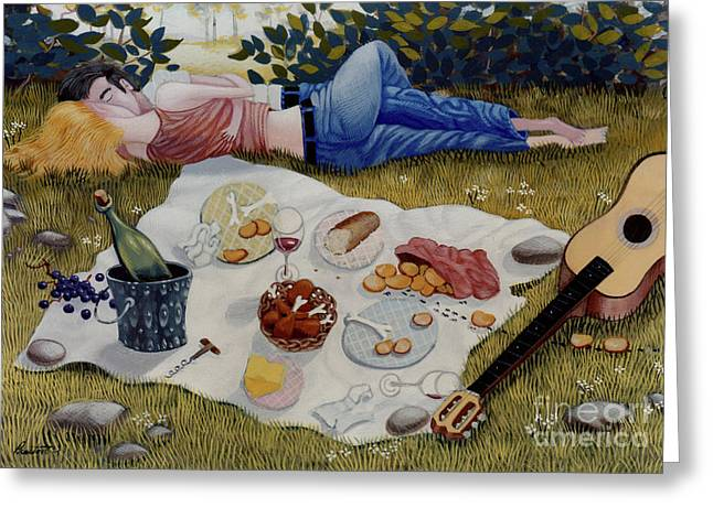 Picnic Greeting Cards - The Picnic 1995 Greeting Card by Larry Preston