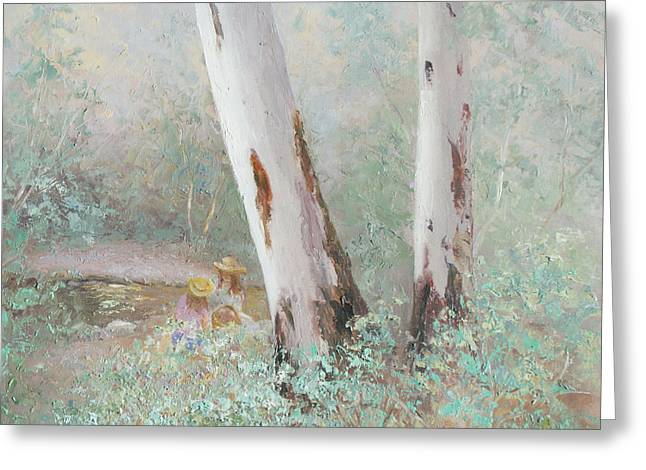 Impressionist Creek Oil Paintings Greeting Cards - The picnic by the stream Greeting Card by Jan Matson