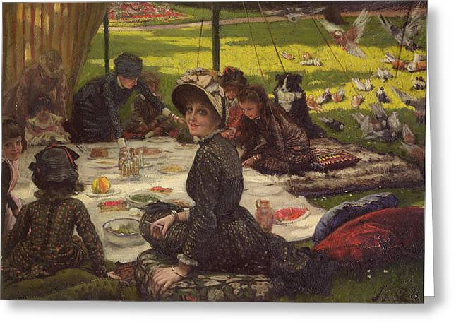 Kathleen Greeting Cards - The Picnic Dejeuner Sur Lherbe, C.1881-2 Panel Greeting Card by James Jacques Joseph Tissot