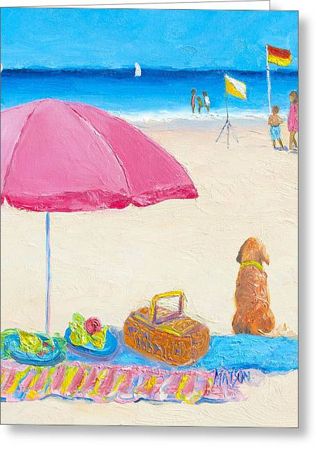 Dog Beach Print Greeting Cards - The Picnic Greeting Card by Jan Matson