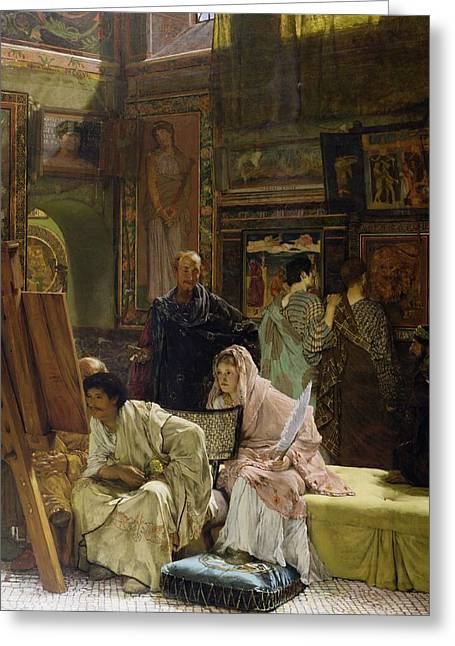 Easel Greeting Cards - The Picture Gallery, 1874 Greeting Card by Sir Lawrence Alma-Tadema