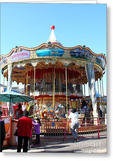 Fishermens Wharf Greeting Cards - The Pier 39 Carousel And Performers San Francisco California 5D26120 Greeting Card by Wingsdomain Art and Photography