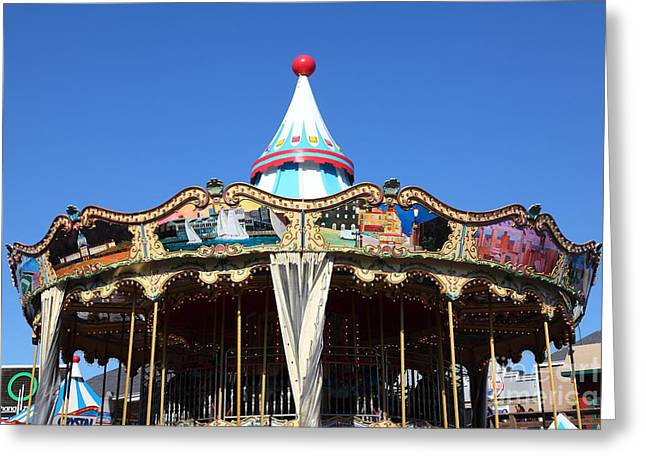 Fishermens Wharf Greeting Cards - The Pier 39 Carousel And Performers San Francisco California 5D26126 Greeting Card by Wingsdomain Art and Photography