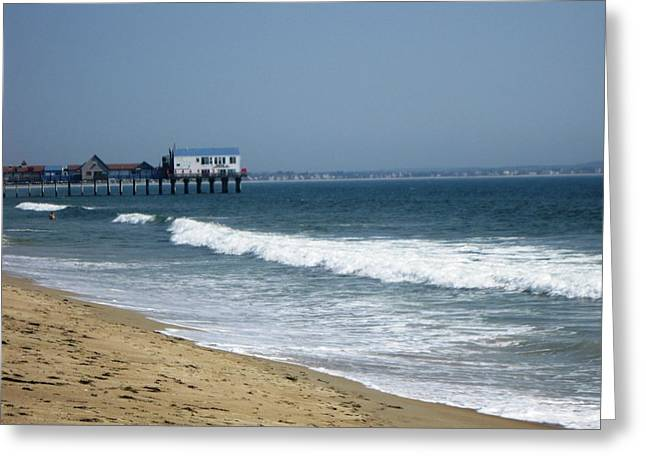 Beaches Ceramics Greeting Cards - The Pier at OOB Greeting Card by Brenda Burns