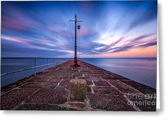 The Pier At Sun Rise Greeting Card by John Farnan