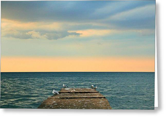 The Pier At Sunset Greeting Card by Heather Allen