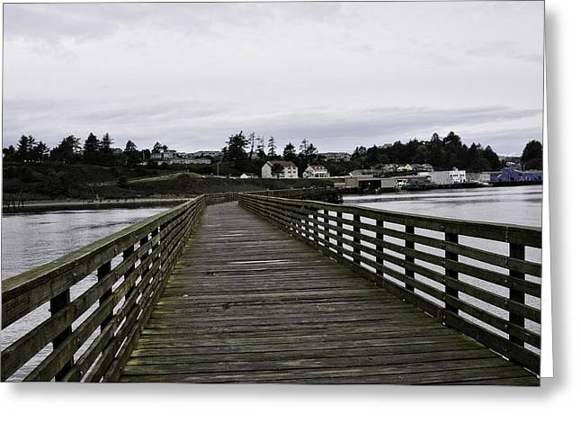 Wooden Platform Greeting Cards - The Pier At Yaquina Greeting Card by Image Takers Photography LLC - Laura Morgan
