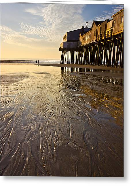 Maine Beach Greeting Cards - The Pier Greeting Card by Benjamin Williamson