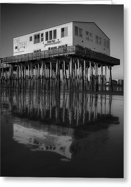 Maine Beach Greeting Cards - The Pier BW Greeting Card by Susan Candelario