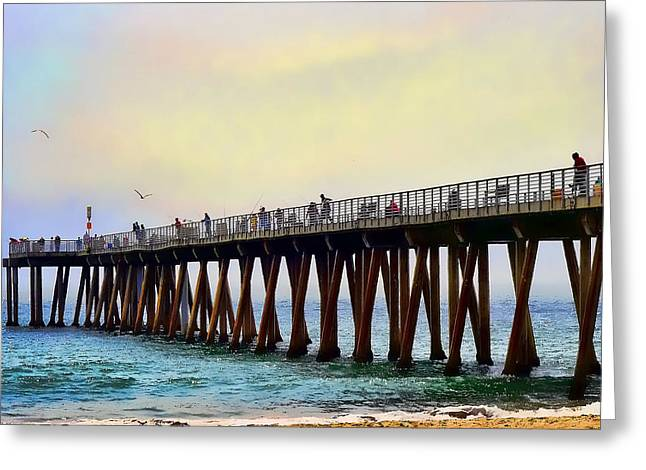The Pier Greeting Card by Camille Lopez