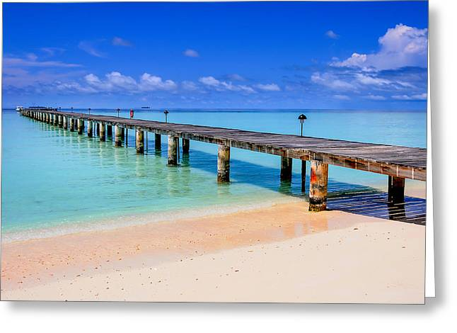Maldivian Greeting Cards - The Pier into the Blue Heaven Greeting Card by Jenny Rainbow