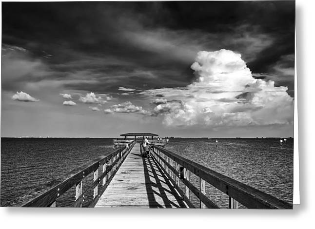 Stormy Weather Greeting Cards - The Pier Greeting Card by Marvin Spates