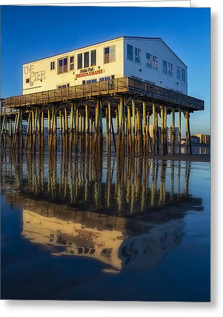 Maine Beach Greeting Cards - The Pier Greeting Card by Susan Candelario