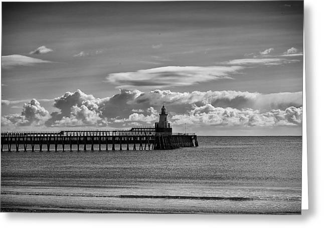 Blyth Greeting Cards - The piers at Blyth in Northumberland Greeting Card by Jim Jones