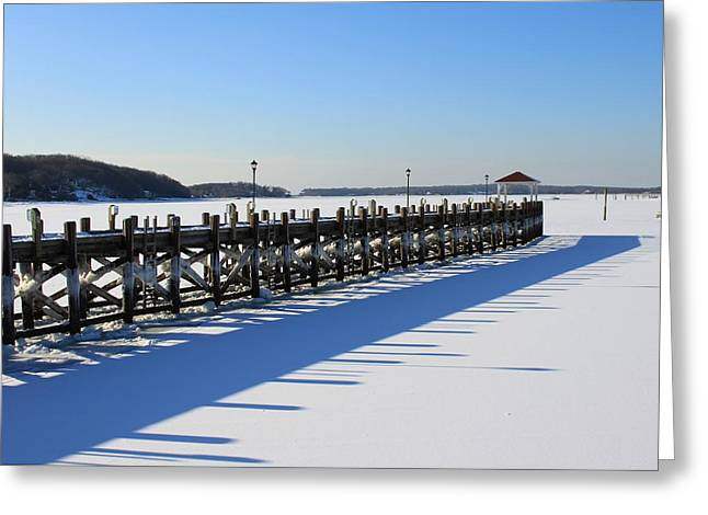 Wintry Greeting Cards - The Piers Shadow Greeting Card by Karen Silvestri