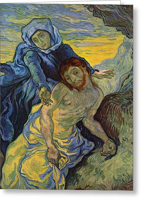 Van Gogh Style Paintings Greeting Cards - The Pieta after Delacroix 1889 Greeting Card by Vincent Van Gogh