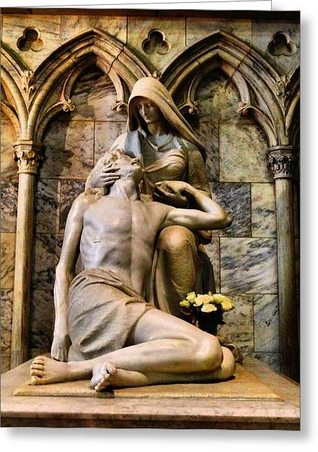Rosary Greeting Cards - The Pieta In New York City Greeting Card by Dan Sproul