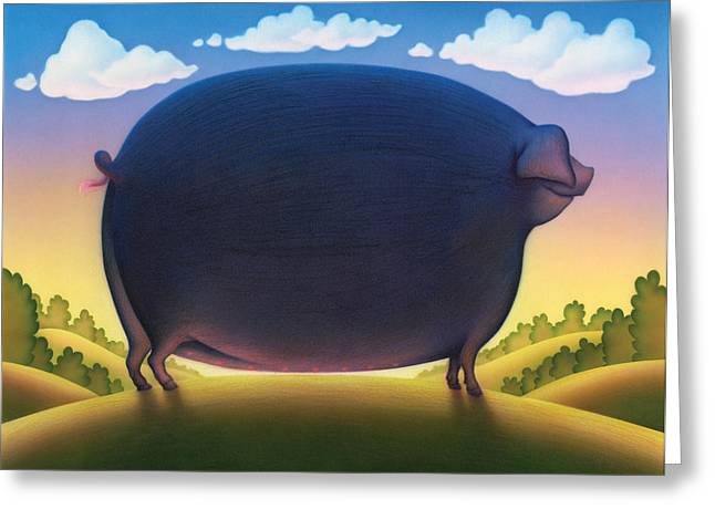 Black Pig Greeting Cards - The Pig Greeting Card by Andrew Farley