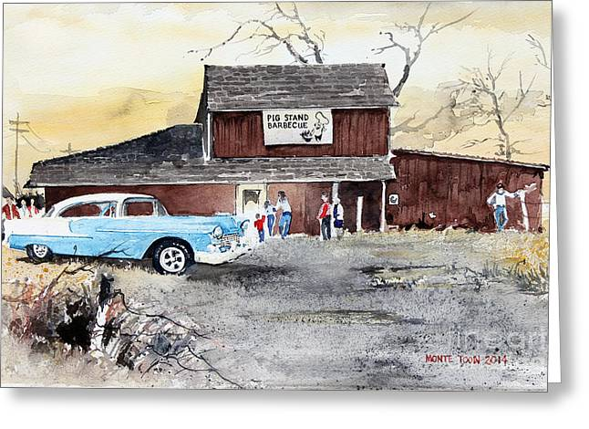 Rustic Buildings Greeting Cards - The Pig Stand Greeting Card by Monte Toon