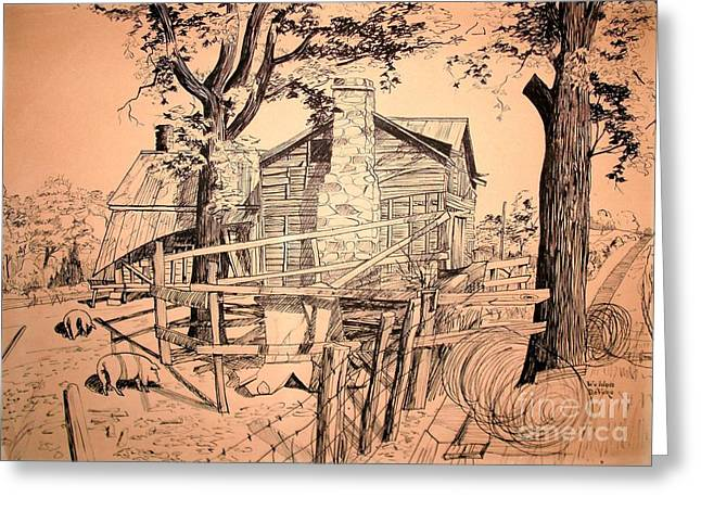 Barn Pen And Ink Greeting Cards - The Pig Sty Greeting Card by Kip DeVore