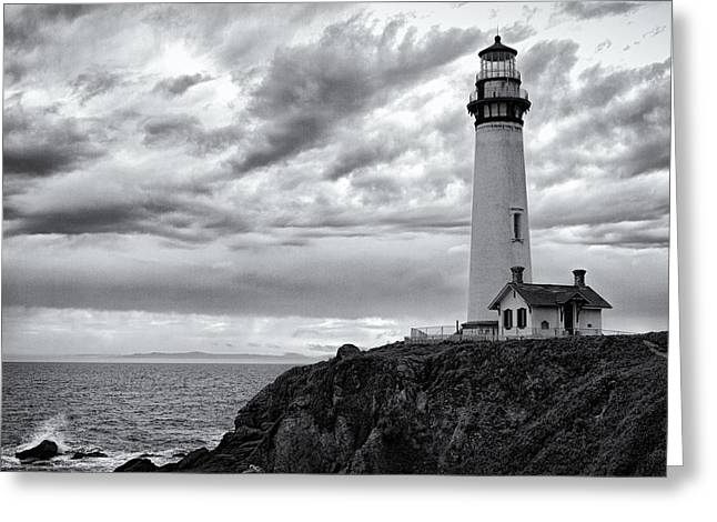 Warner Park Greeting Cards - The Pigeon Point Beacon Greeting Card by Eduard Moldoveanu