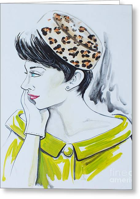 Off-the-shoulder Greeting Cards - The Pillbox Leopard Print Classic Greeting Card by GG Burns