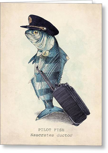 Fish Drawings Greeting Cards - The Pilot Greeting Card by Eric Fan