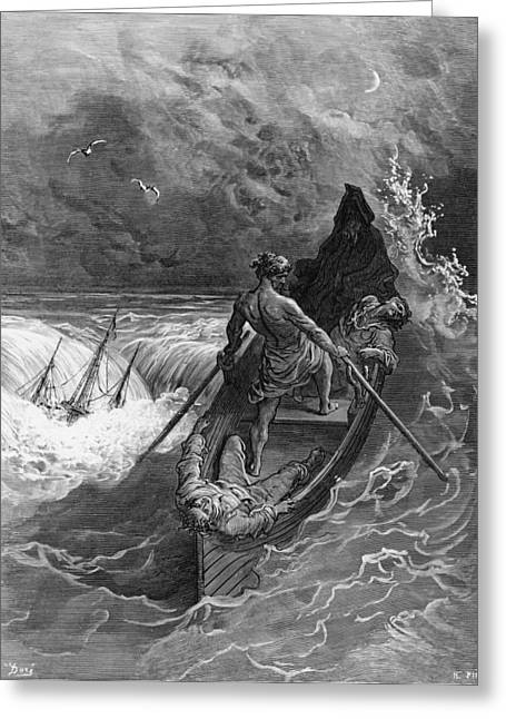 Hermit Greeting Cards - The Pilot faints scene from The Rime of the Ancient Mariner by S.T. Coleridge Greeting Card by Gustave Dore