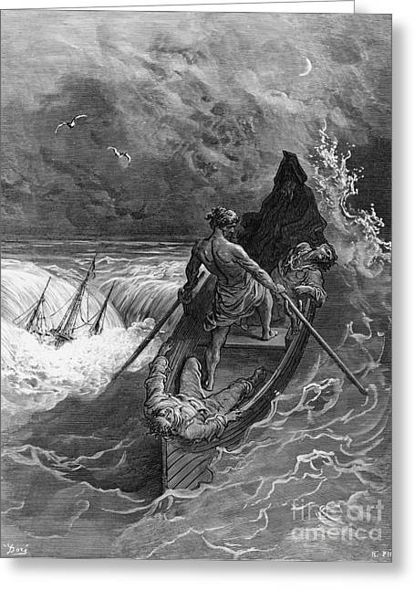 Faint Greeting Cards - The Pilot faints scene from The Rime of the Ancient Mariner by S.T. Coleridge Greeting Card by Gustave Dore