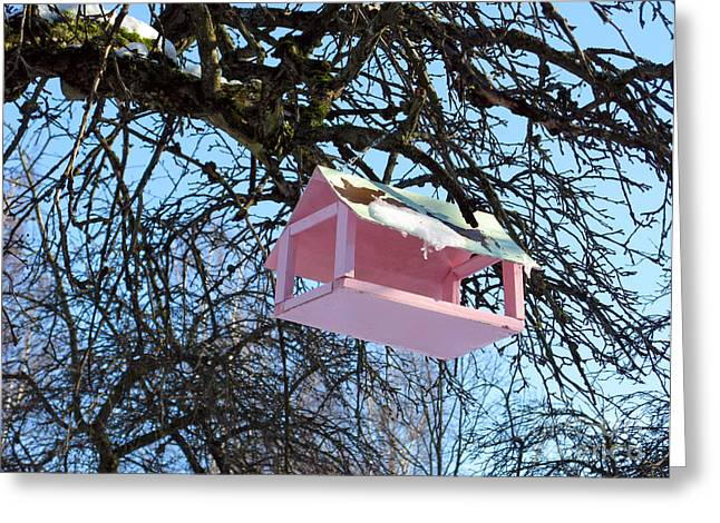 Crafts For Kids Greeting Cards - The Pink Bird Feeder Greeting Card by Ausra Paulauskaite