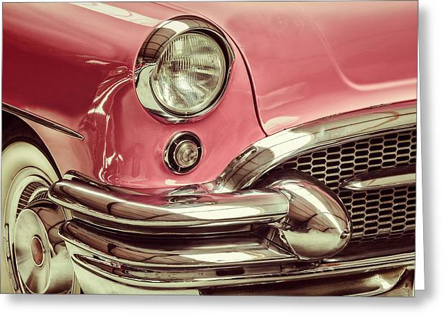 Sixties Style Automobile Greeting Cards - The Pink Buick Greeting Card by Martin Bergsma