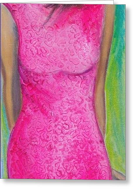 Canvas Wine Prints Mixed Media Greeting Cards - The Pink Dress Greeting Card by Debi Starr