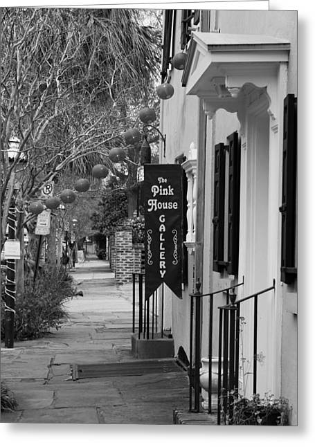 The White House Photographs Greeting Cards - The Pink House Gallery - Black and White Greeting Card by Suzanne Gaff