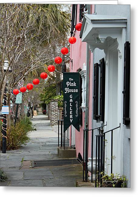 Charleston Sidewalk Greeting Cards - The Pink House Gallery Greeting Card by Suzanne Gaff