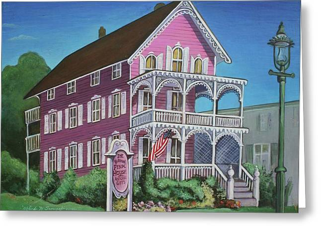 The Houses Greeting Cards - The Pink House in Cape May Greeting Card by Melinda Saminski