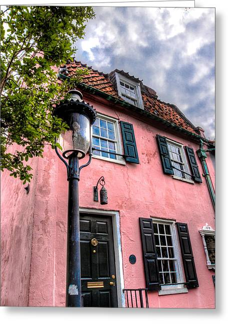 Recently Sold -  - Historic Architecture Greeting Cards - The Pink House  Greeting Card by Walt  Baker