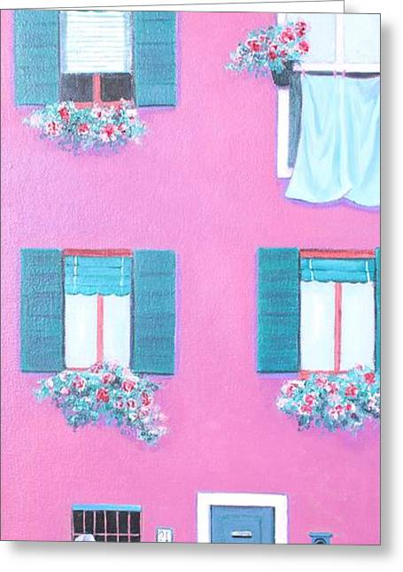 Naive Art Greeting Cards - The Pink House with green shutters Greeting Card by Jan Matson