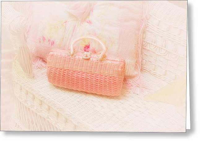 Charming Cottage Greeting Cards - The Pink Purse Greeting Card by Kim Hojnacki