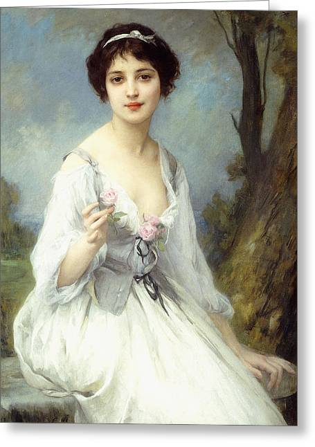 Roses In Her Hair Greeting Cards - The Pink Rose Greeting Card by Charles Amable Lenoir