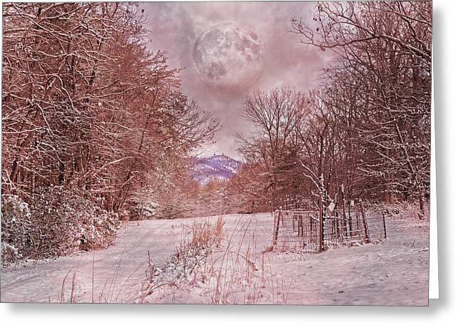 The Pink Snow Evening Greeting Card by Betsy C Knapp