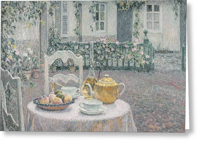 Flower Setting Greeting Cards - The Pink Tablecloth Greeting Card by Henri Eugene Augustin Le Sidaner