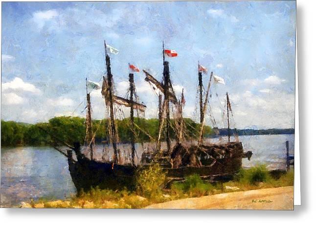 Sailing Ship Greeting Cards - The Pinta at Sunrise Greeting Card by RC DeWinter