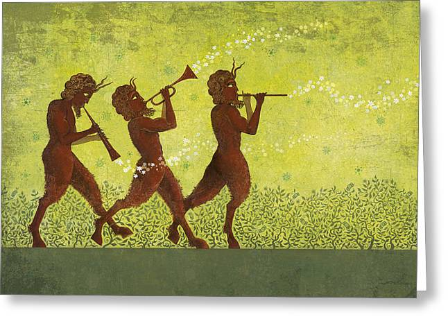 Trumpet Greeting Cards - The Pipers 3 Greeting Card by Dennis Wunsch