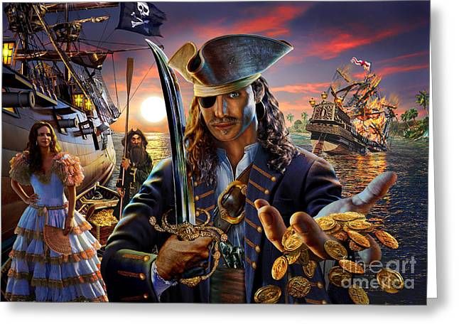 Coins Greeting Cards - The Pirate Greeting Card by Adrian Chesterman